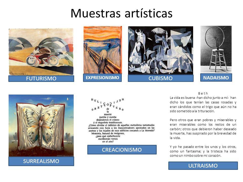 Muestras artísticas FUTURISMO CUBISMO CREACIONISMO SURREALISMO