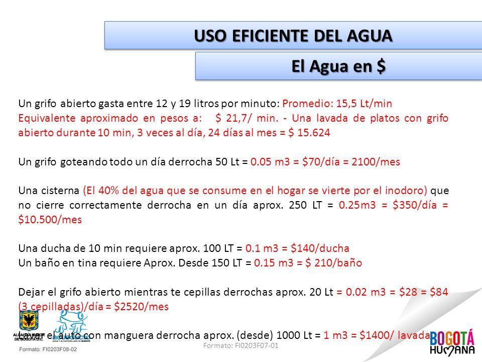USO EFICIENTE DEL AGUA El Agua en $