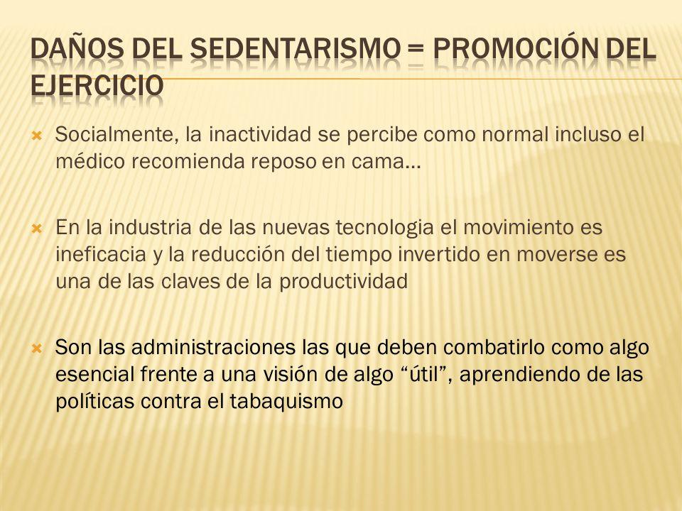 Daños del sedentarismo = promoción del ejercicio