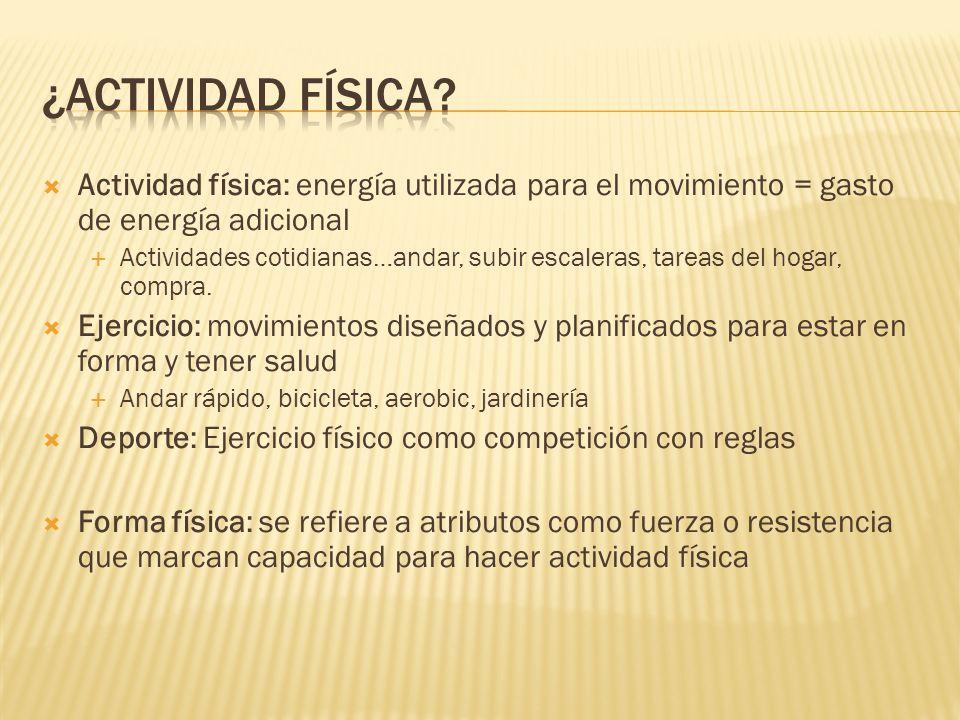 ¿actividad física Actividad física: energía utilizada para el movimiento = gasto de energía adicional.