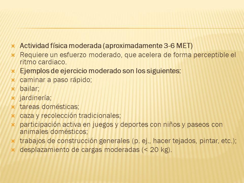 Actividad física moderada (aproximadamente 3-6 MET)