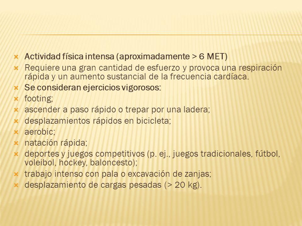 Actividad física intensa (aproximadamente > 6 MET)