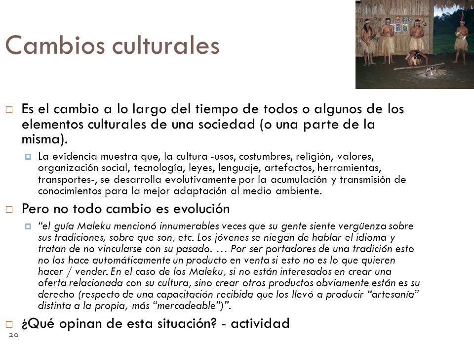 Cambios culturales Es el cambio a lo largo del tiempo de todos o algunos de los elementos culturales de una sociedad (o una parte de la misma).