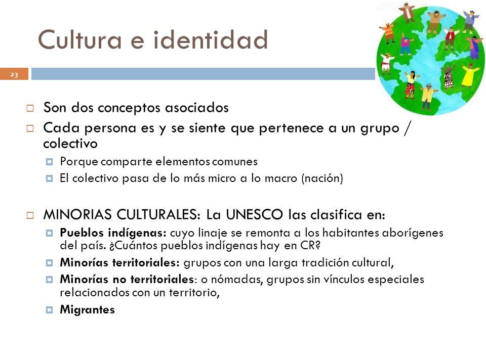Cultura e identidad Son dos conceptos asociados