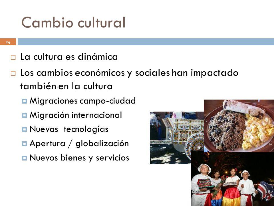 Cambio cultural La cultura es dinámica