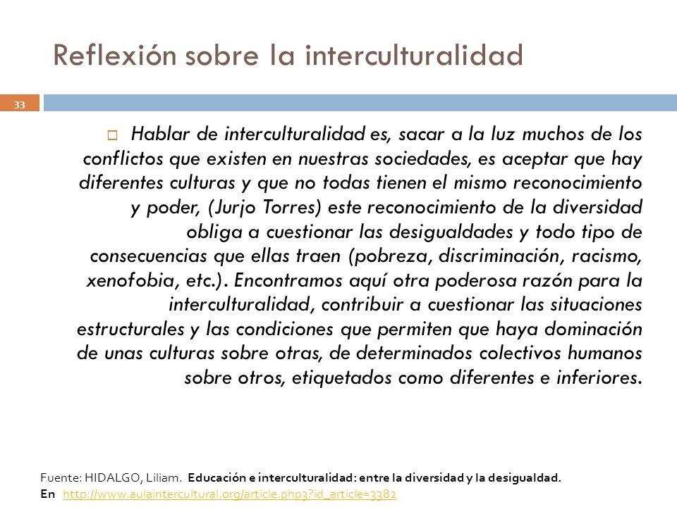 Reflexión sobre la interculturalidad