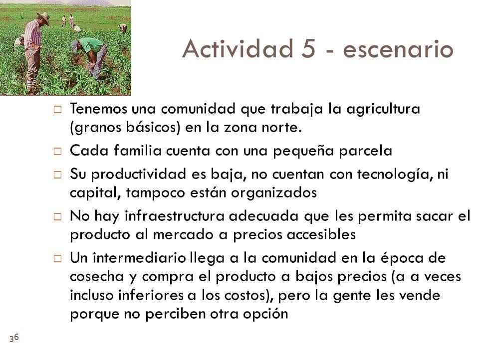 Actividad 5 - escenario Tenemos una comunidad que trabaja la agricultura (granos básicos) en la zona norte.