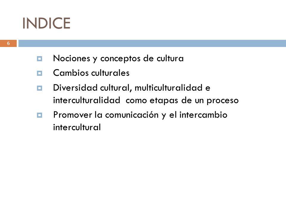 INDICE Nociones y conceptos de cultura Cambios culturales