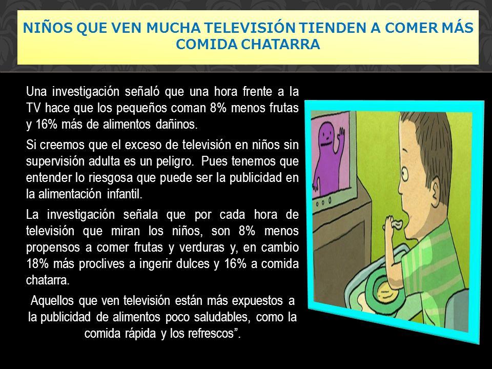 Niños que ven mucha televisión tienden a comer más comida chatarra