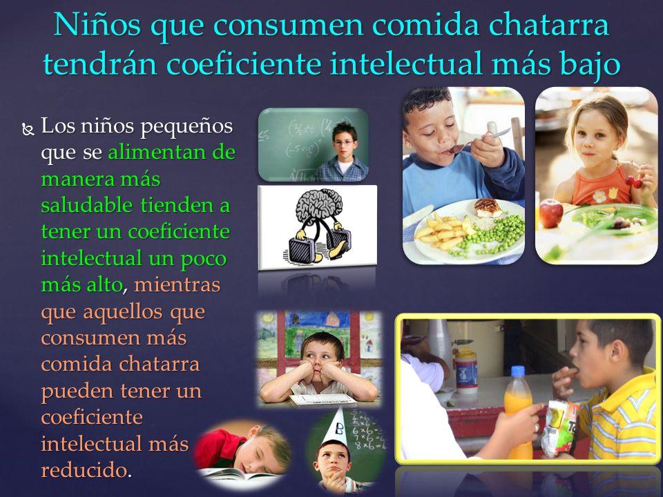 Niños que consumen comida chatarra tendrán coeficiente intelectual más bajo
