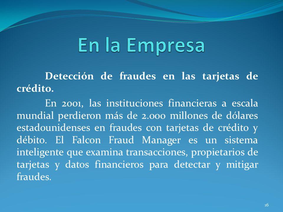 En la Empresa Detección de fraudes en las tarjetas de crédito.