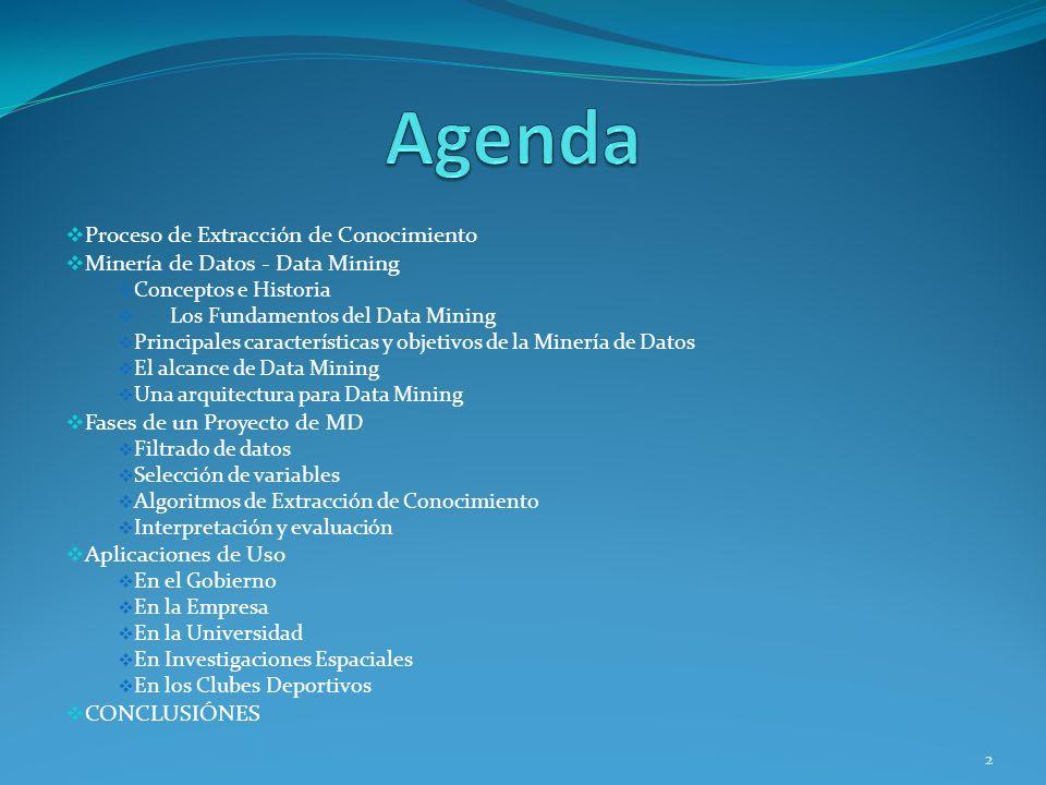 Agenda Proceso de Extracción de Conocimiento