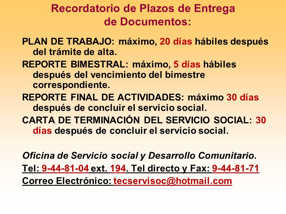 Recordatorio de Plazos de Entrega de Documentos: