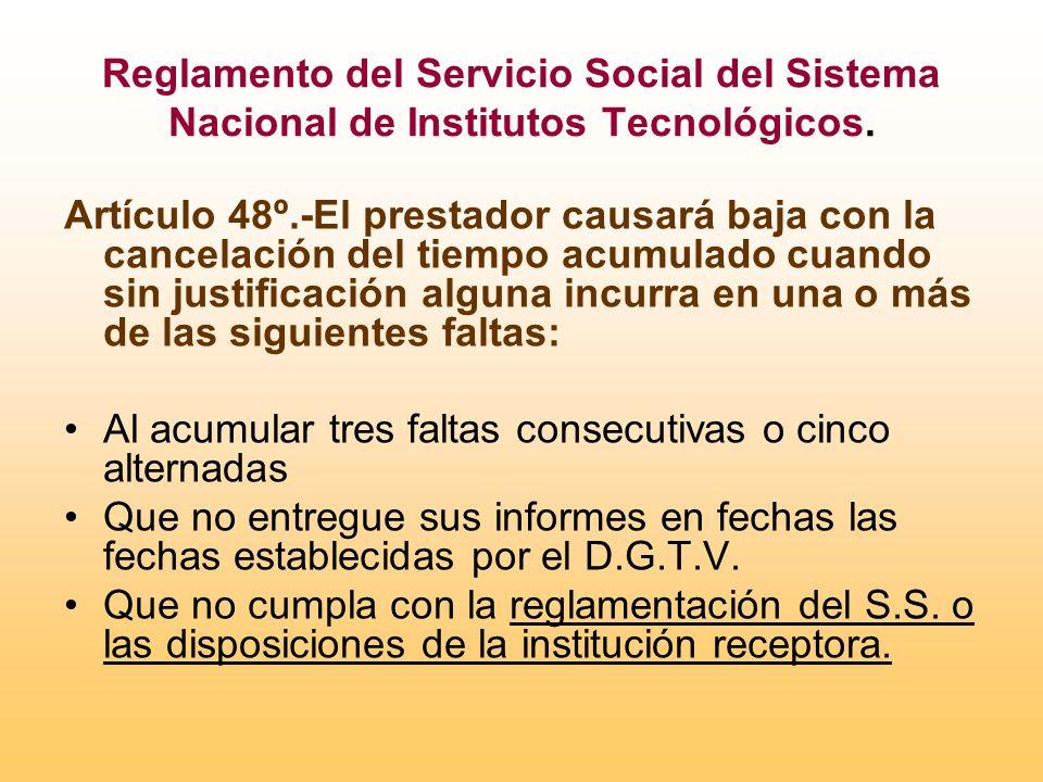 Reglamento del Servicio Social del Sistema Nacional de Institutos Tecnológicos.