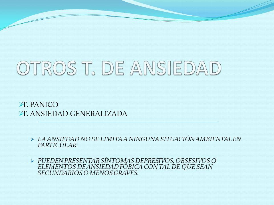 OTROS T. DE ANSIEDAD T. PÁNICO T. ANSIEDAD GENERALIZADA