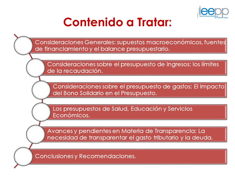 Contenido a Tratar: Consideraciones Generales: supuestos macroeconómicos, fuentes de financiamiento y el balance presupuestario.