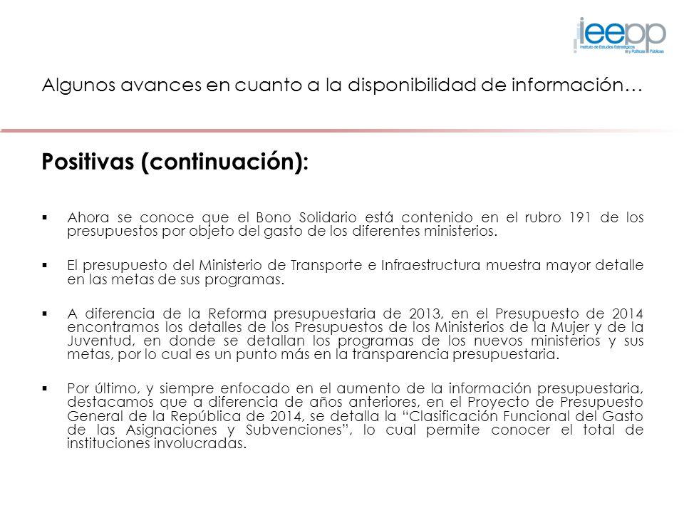 Algunos avances en cuanto a la disponibilidad de información…