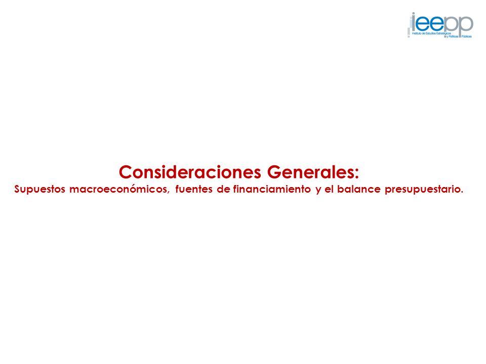 Consideraciones Generales: Supuestos macroeconómicos, fuentes de financiamiento y el balance presupuestario.