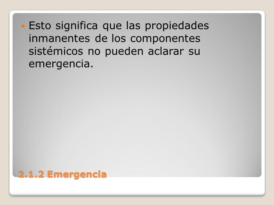 Esto significa que las propiedades inmanentes de los componentes sistémicos no pueden aclarar su emergencia.