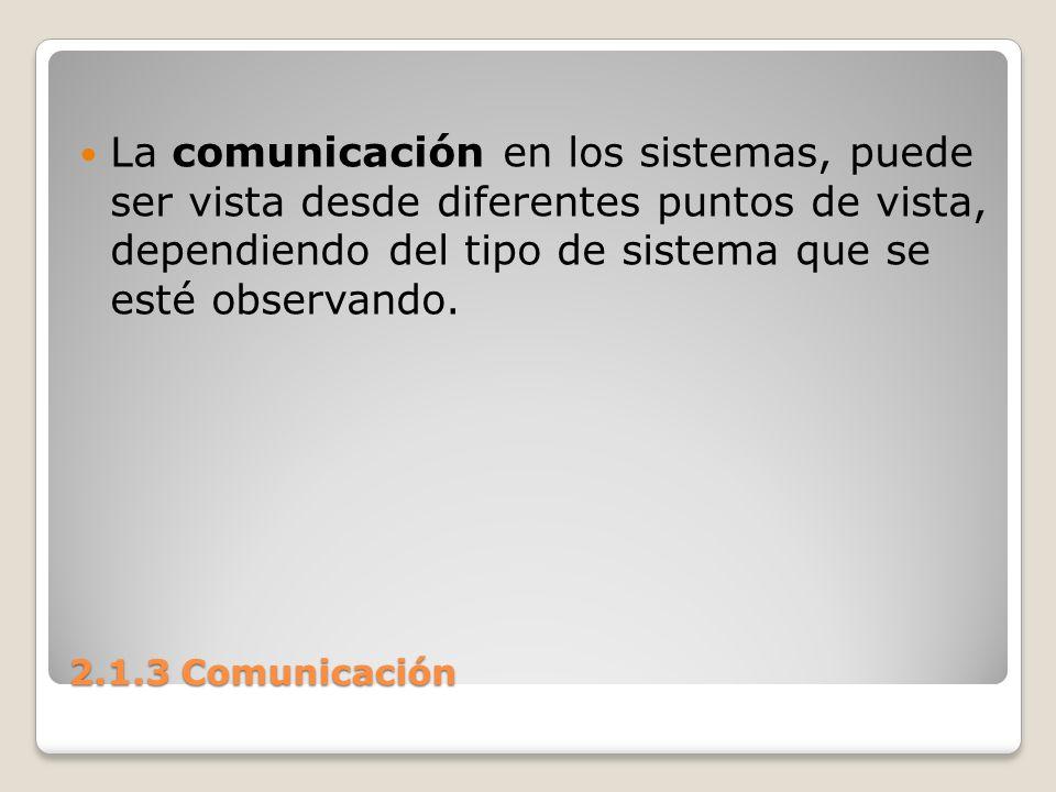 La comunicación en los sistemas, puede ser vista desde diferentes puntos de vista, dependiendo del tipo de sistema que se esté observando.