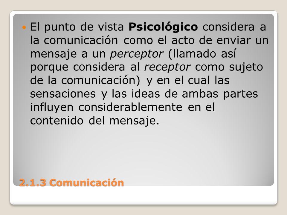 El punto de vista Psicológico considera a la comunicación como el acto de enviar un mensaje a un perceptor (llamado así porque considera al receptor como sujeto de la comunicación) y en el cual las sensaciones y las ideas de ambas partes influyen considerablemente en el contenido del mensaje.