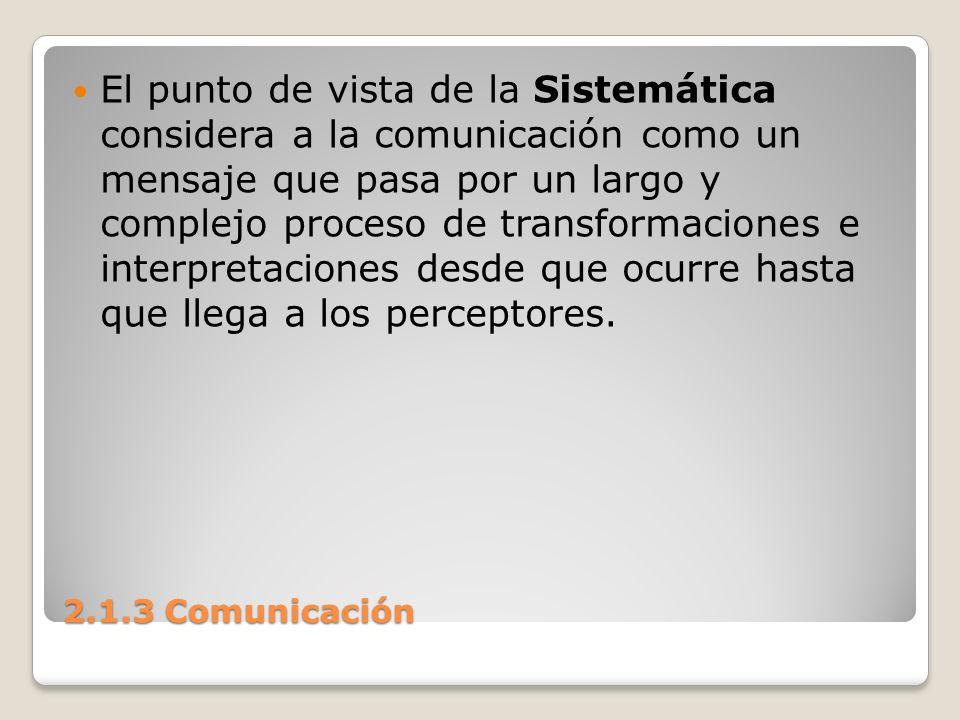 El punto de vista de la Sistemática considera a la comunicación como un mensaje que pasa por un largo y complejo proceso de transformaciones e interpretaciones desde que ocurre hasta que llega a los perceptores.