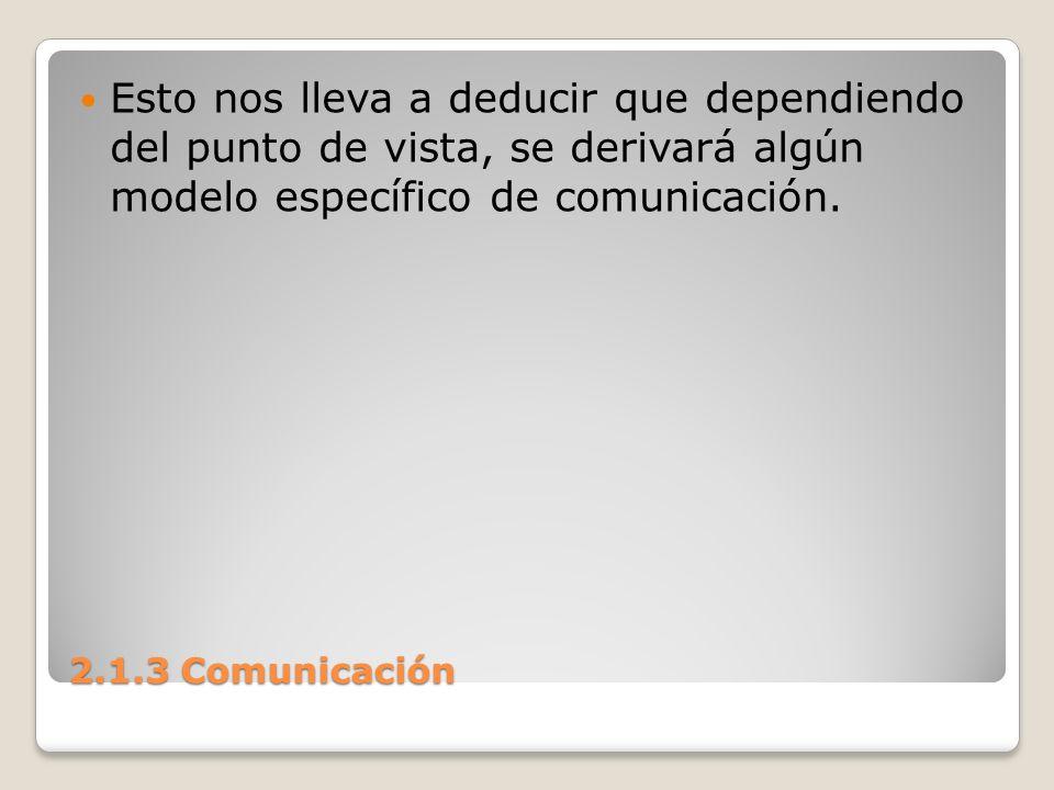 Esto nos lleva a deducir que dependiendo del punto de vista, se derivará algún modelo específico de comunicación.