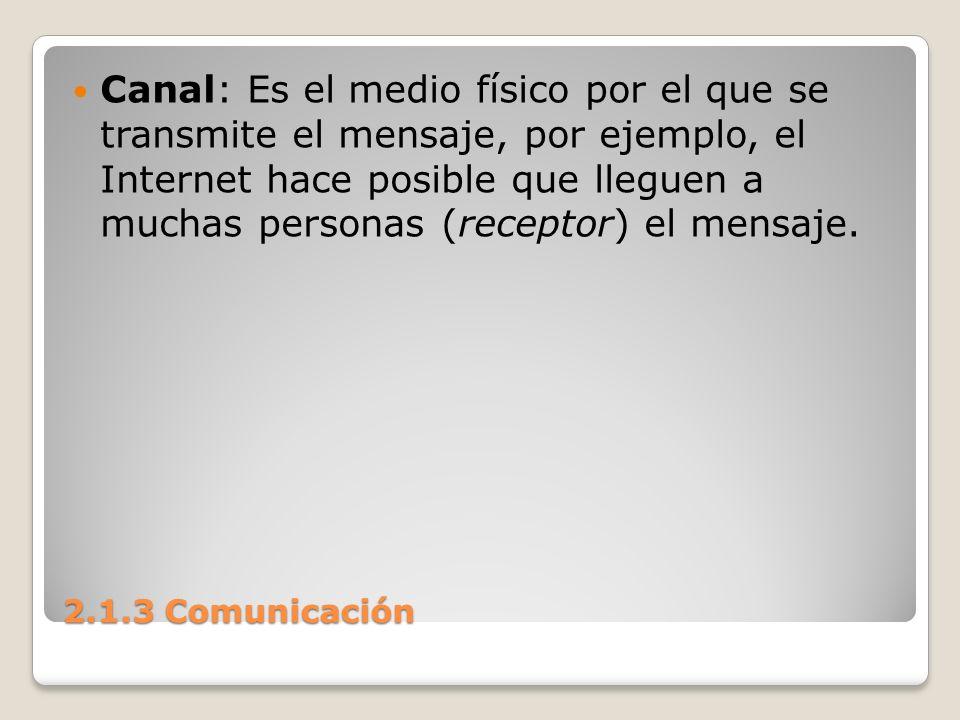 Canal: Es el medio físico por el que se transmite el mensaje, por ejemplo, el Internet hace posible que lleguen a muchas personas (receptor) el mensaje.