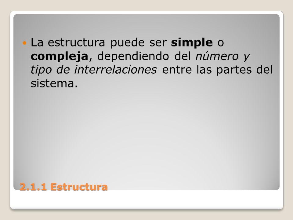La estructura puede ser simple o compleja, dependiendo del número y tipo de interrelaciones entre las partes del sistema.