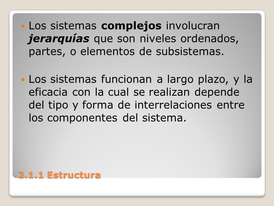 Los sistemas complejos involucran jerarquías que son niveles ordenados, partes, o elementos de subsistemas.