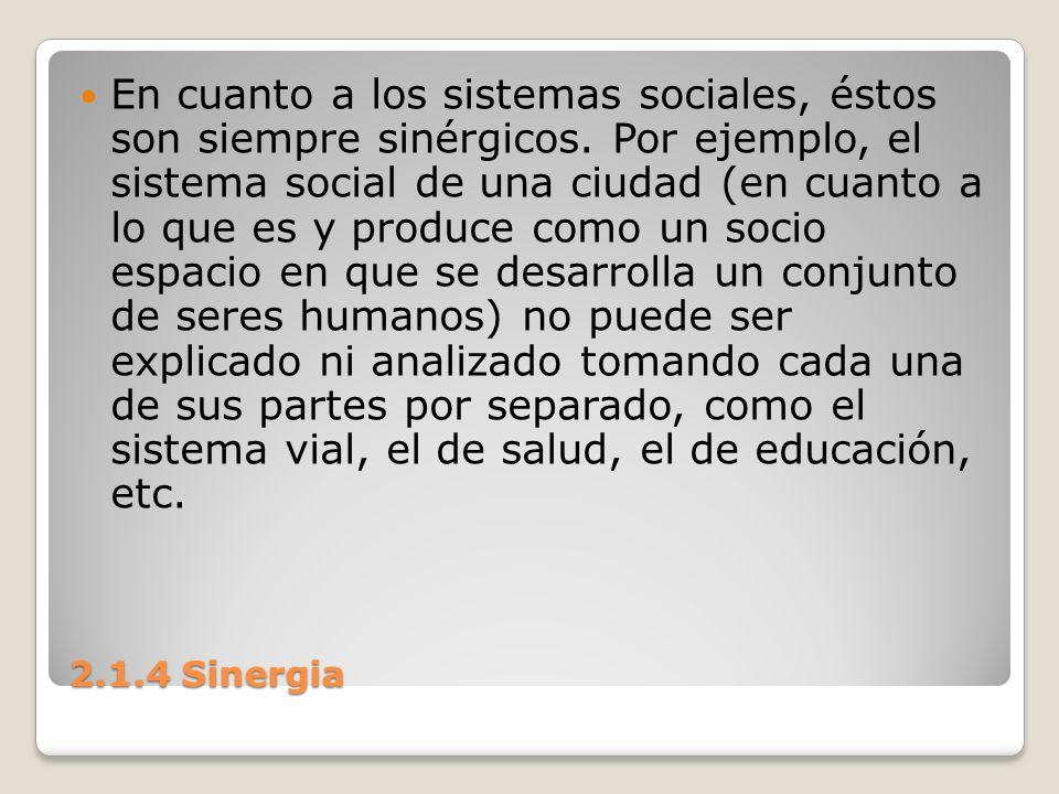 En cuanto a los sistemas sociales, éstos son siempre sinérgicos