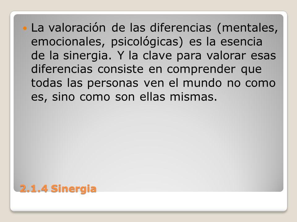 La valoración de las diferencias (mentales, emocionales, psicológicas) es la esencia de la sinergia. Y la clave para valorar esas diferencias consiste en comprender que todas las personas ven el mundo no como es, sino como son ellas mismas.