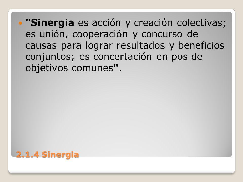 Sinergia es acción y creación colectivas; es unión, cooperación y concurso de causas para lograr resultados y beneficios conjuntos; es concertación en pos de objetivos comunes .