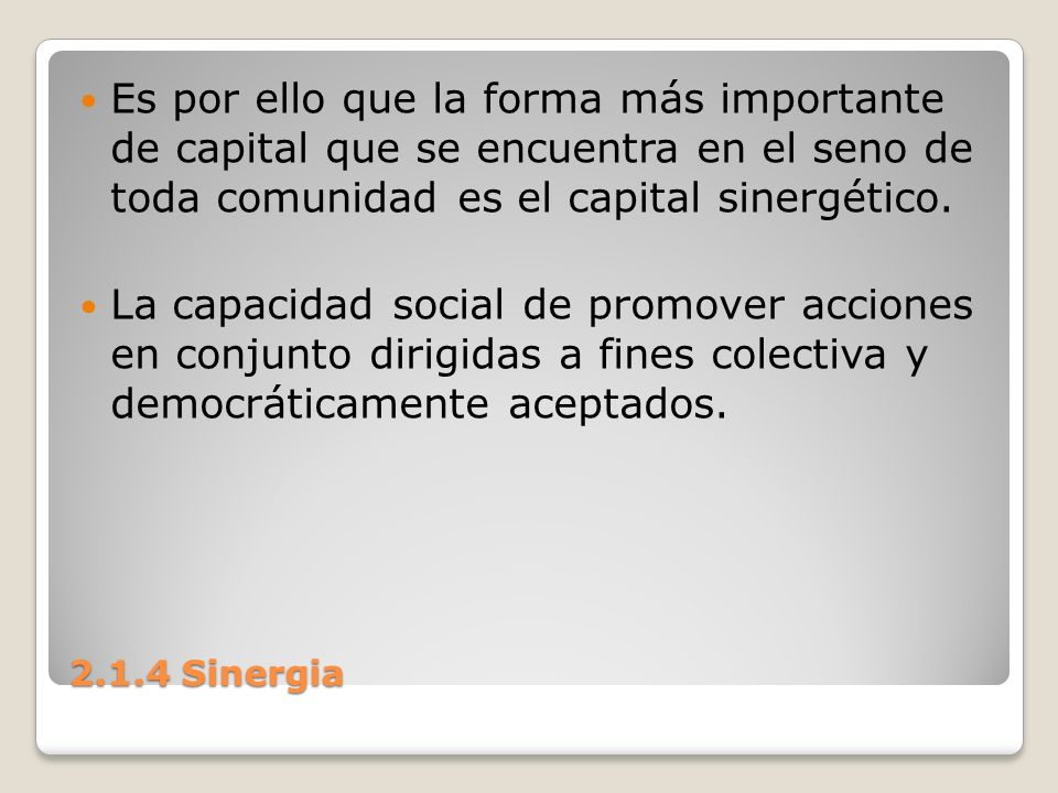 Es por ello que la forma más importante de capital que se encuentra en el seno de toda comunidad es el capital sinergético.