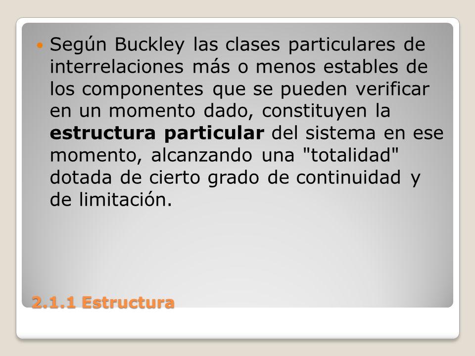 Según Buckley las clases particulares de interrelaciones más o menos estables de los componentes que se pueden verificar en un momento dado, constituyen la estructura particular del sistema en ese momento, alcanzando una totalidad dotada de cierto grado de continuidad y de limitación.