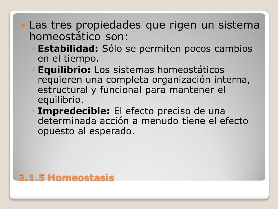 Las tres propiedades que rigen un sistema homeostático son: