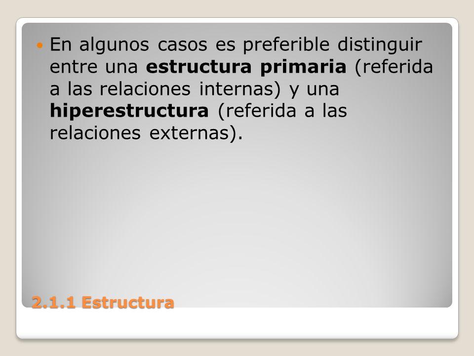 En algunos casos es preferible distinguir entre una estructura primaria (referida a las relaciones internas) y una hiperestructura (referida a las relaciones externas).