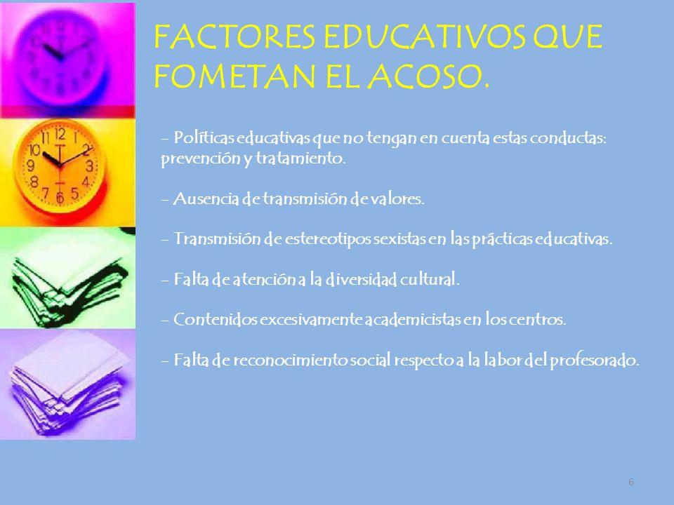 FACTORES EDUCATIVOS QUE FOMETAN EL ACOSO.