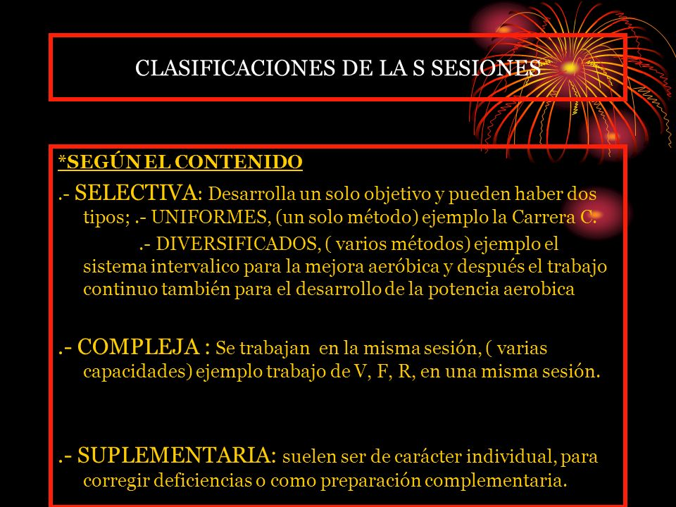 CLASIFICACIONES DE LA S SESIONES