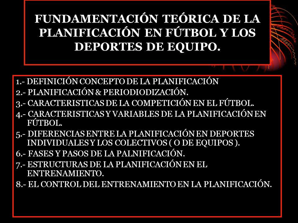 FUNDAMENTACIÓN TEÓRICA DE LA PLANIFICACIÓN EN FÚTBOL Y LOS DEPORTES DE EQUIPO.