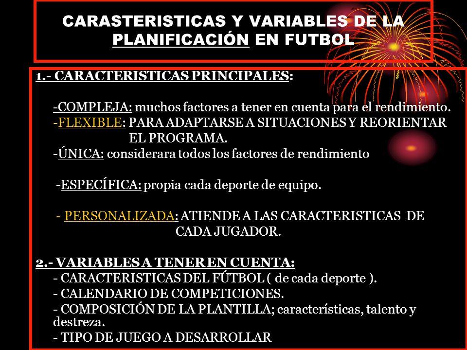 CARASTERISTICAS Y VARIABLES DE LA PLANIFICACIÓN EN FUTBOL