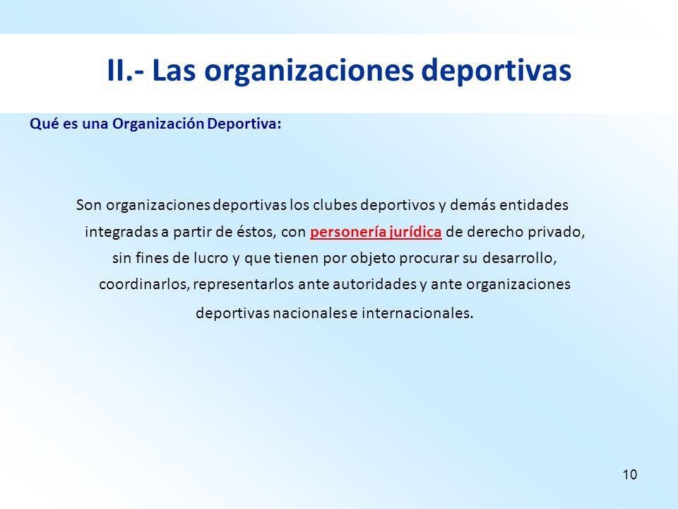 II.- Las organizaciones deportivas