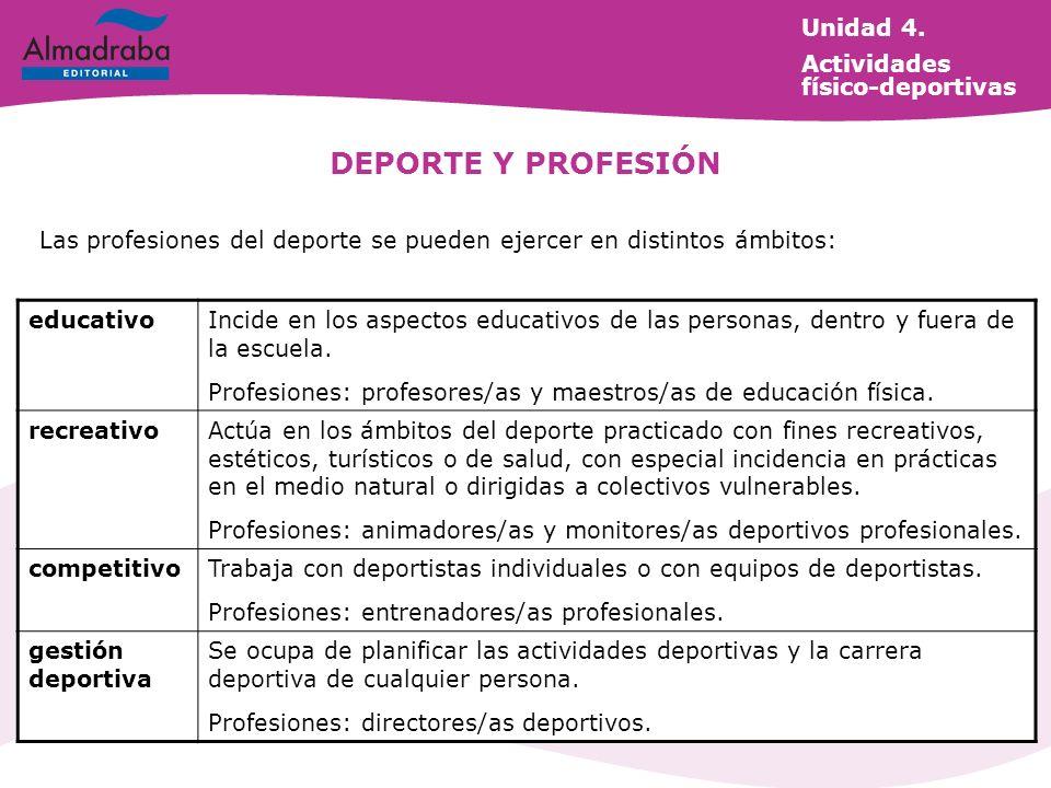 DEPORTE Y PROFESIÓN Unidad 4. Actividades físico-deportivas
