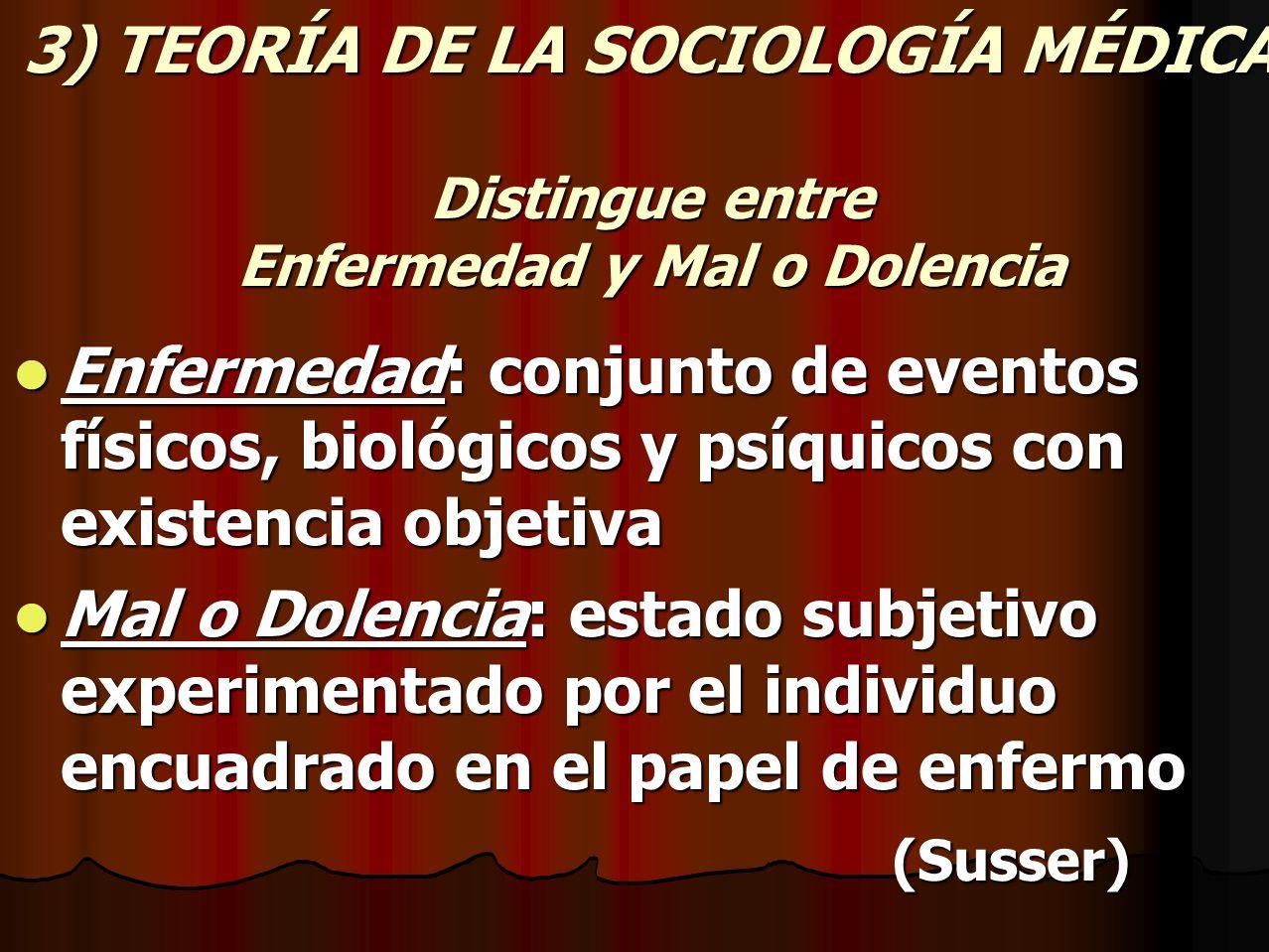 3) TEORÍA DE LA SOCIOLOGÍA MÉDICA Distingue entre Enfermedad y Mal o Dolencia