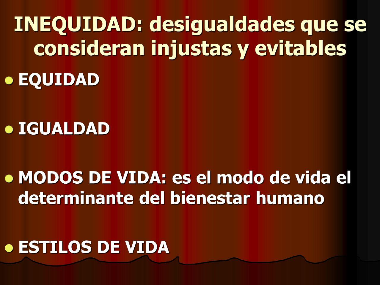 INEQUIDAD: desigualdades que se consideran injustas y evitables