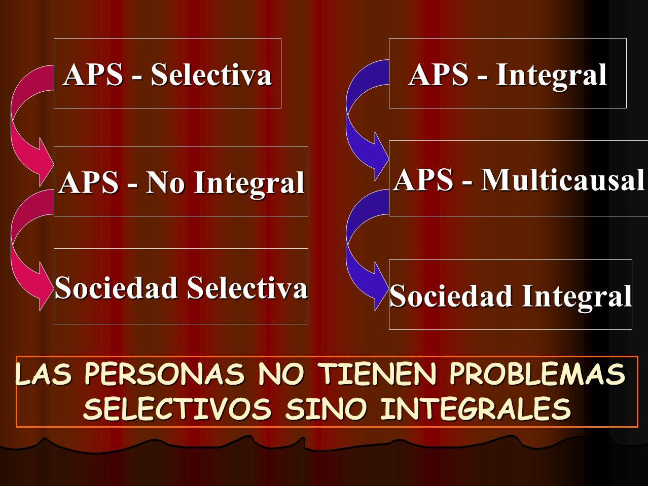 LAS PERSONAS NO TIENEN PROBLEMAS SELECTIVOS SINO INTEGRALES