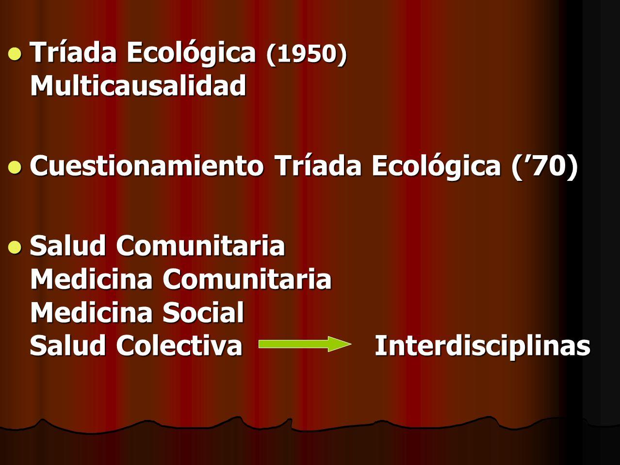 Tríada Ecológica (1950) Multicausalidad