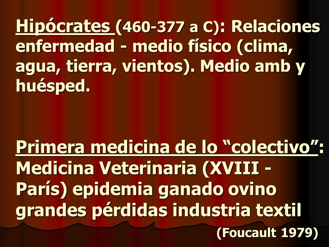 Hipócrates (460-377 a C): Relaciones enfermedad - medio físico (clima, agua, tierra, vientos).