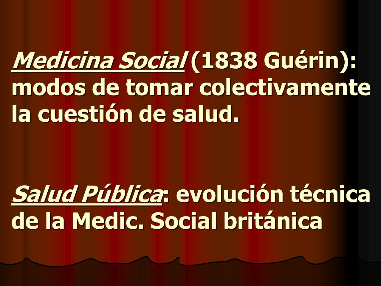 Medicina Social (1838 Guérin): modos de tomar colectivamente la cuestión de salud.