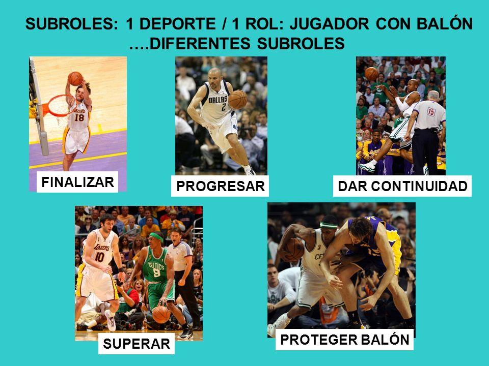 SUBROLES: 1 DEPORTE / 1 ROL: JUGADOR CON BALÓN ….DIFERENTES SUBROLES
